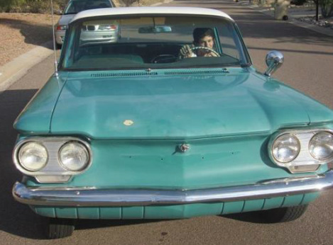 Founder's Son in a Chevy Corvair